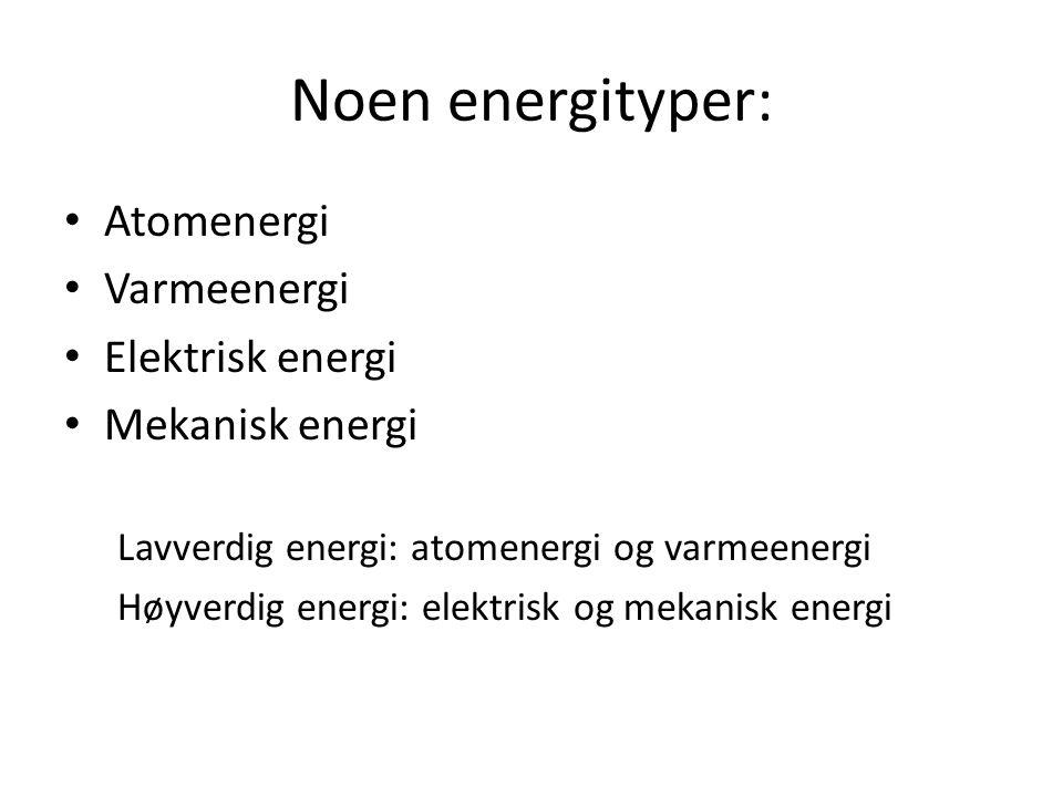 Energiloven høyverdig og lavverdig energi