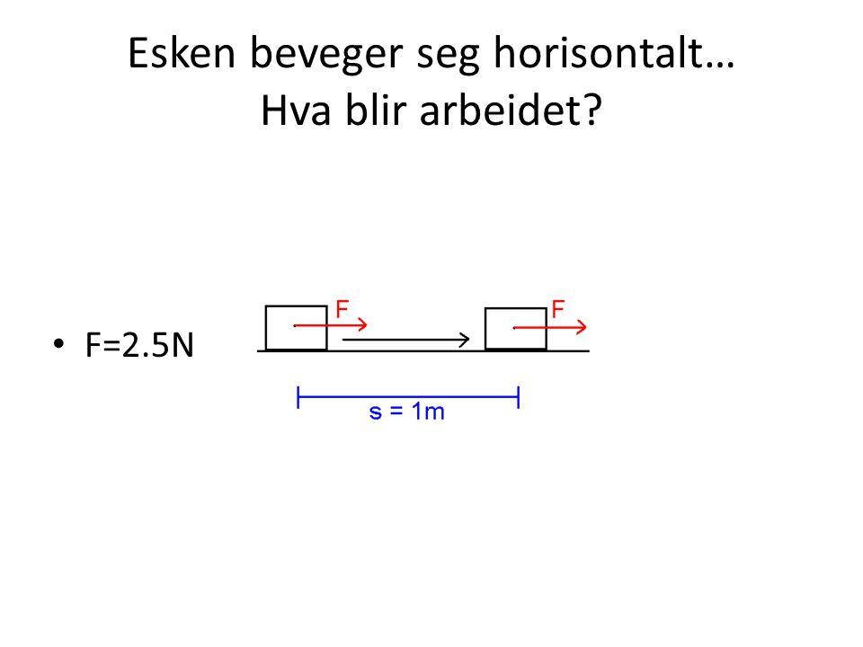 Esken beveger seg horisontalt… Hva blir arbeidet? • F=2.5N