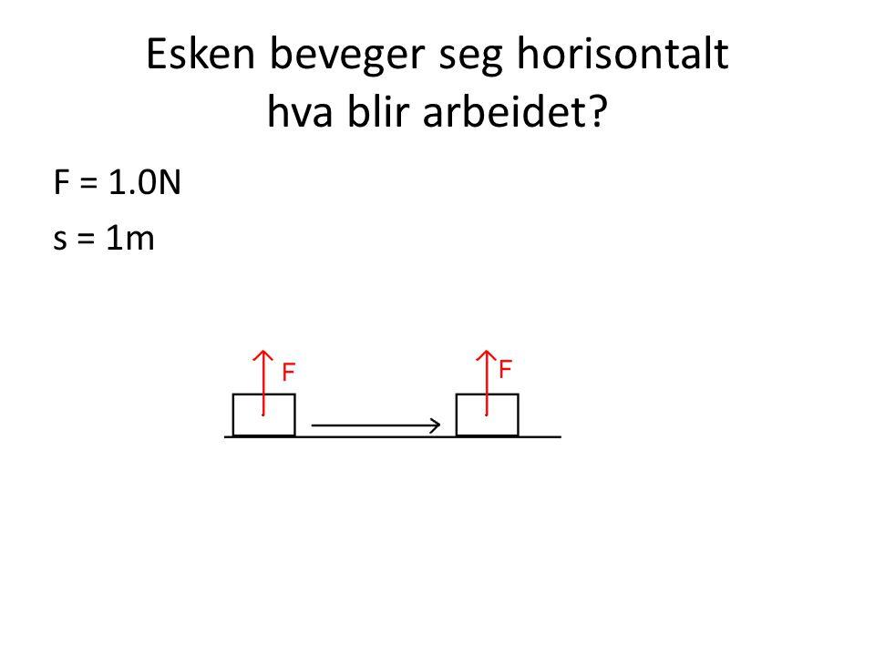 Esken beveger seg horisontalt hva blir arbeidet? F = 1.0N s = 1m