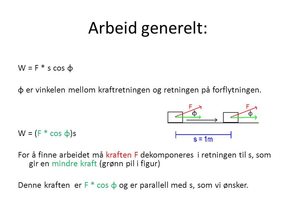 Arbeid generelt: W = F * s cos φ φ er vinkelen mellom kraftretningen og retningen på forflytningen. W = (F * cos φ)s For å finne arbeidet må kraften F