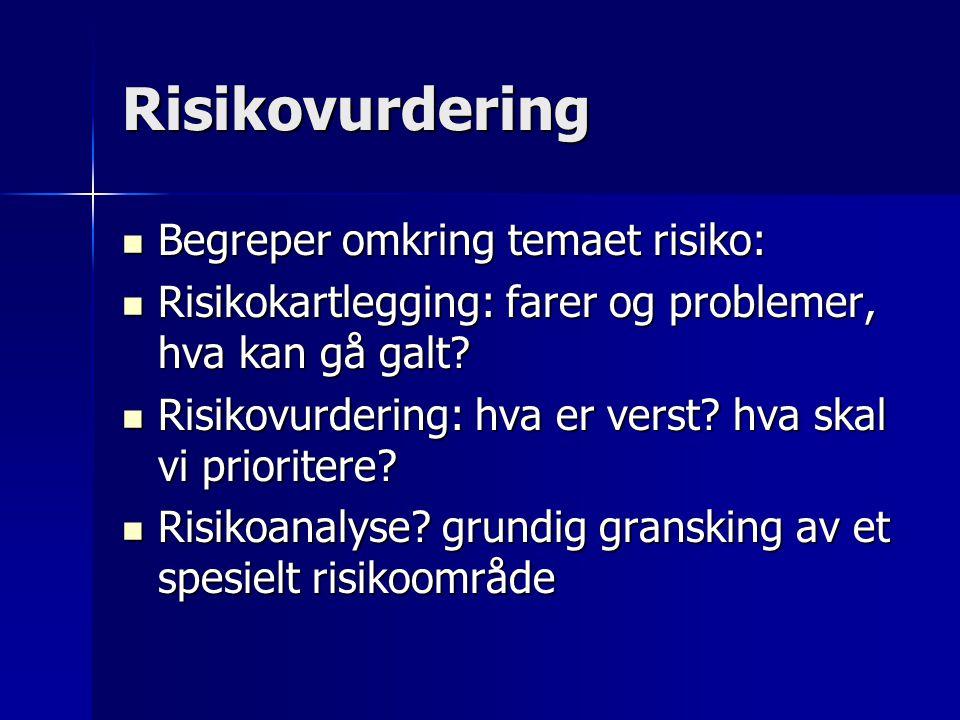 Risikovurdering  Begreper omkring temaet risiko:  Risikokartlegging: farer og problemer, hva kan gå galt?  Risikovurdering: hva er verst? hva skal