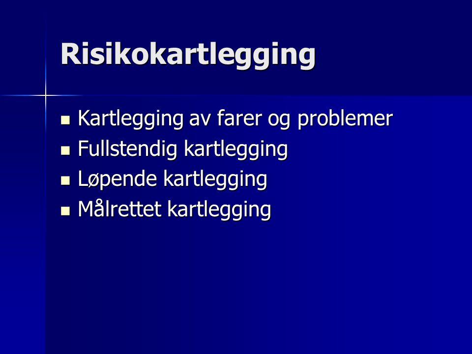 Risikokartlegging  Kartlegging av farer og problemer  Fullstendig kartlegging  Løpende kartlegging  Målrettet kartlegging