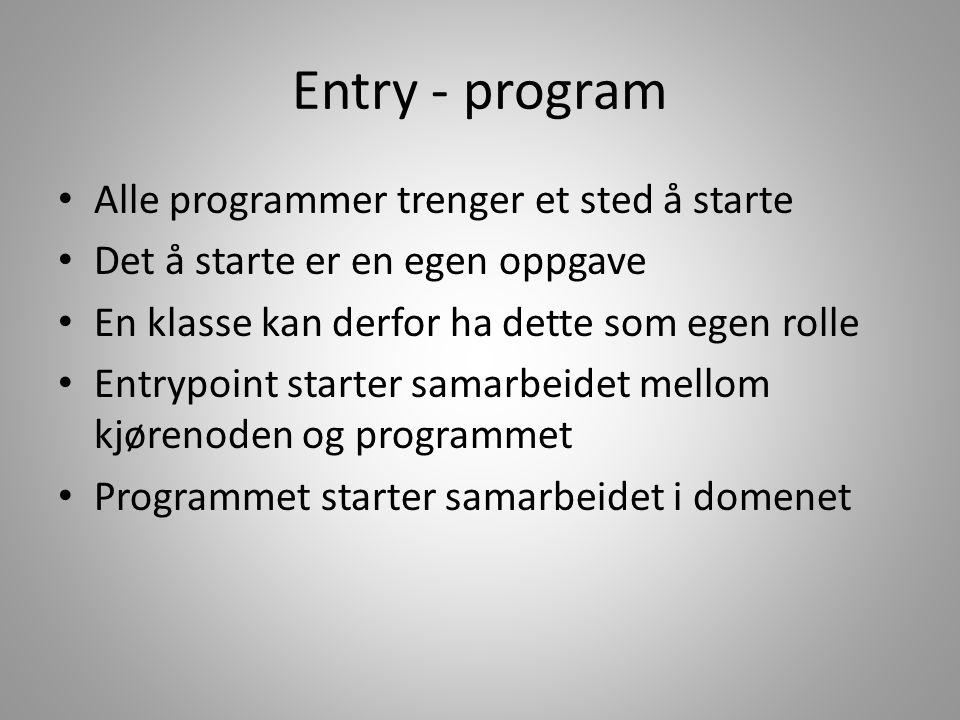 Entry - program • Alle programmer trenger et sted å starte • Det å starte er en egen oppgave • En klasse kan derfor ha dette som egen rolle • Entrypoi