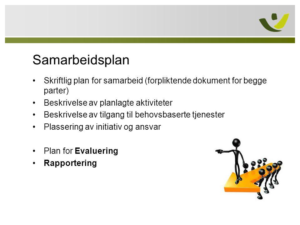 Samarbeidsplan •Skriftlig plan for samarbeid (forpliktende dokument for begge parter) •Beskrivelse av planlagte aktiviteter •Beskrivelse av tilgang ti