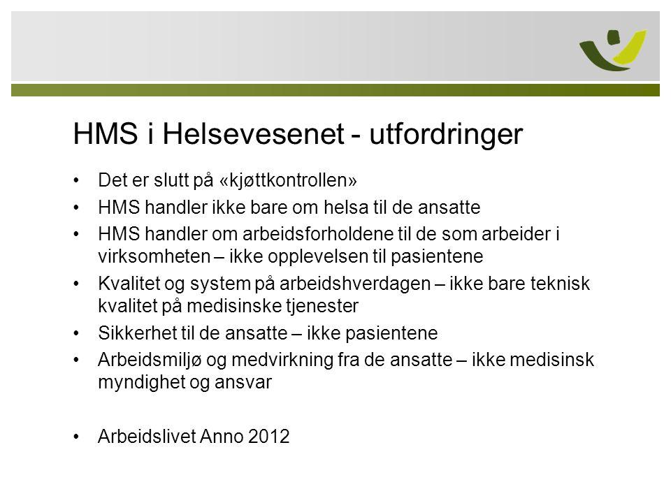 HMS i Helsevesenet - utfordringer •Det er slutt på «kjøttkontrollen» •HMS handler ikke bare om helsa til de ansatte •HMS handler om arbeidsforholdene