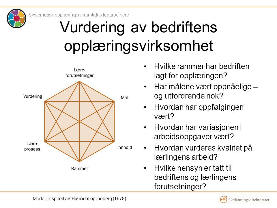 Modell inspirert av Bjørndal og Lieberg (1978) Vurdering av bedriftens opplæringsvirksomhet •Hvilke rammer har bedriften lagt for opplæringen? •Har må