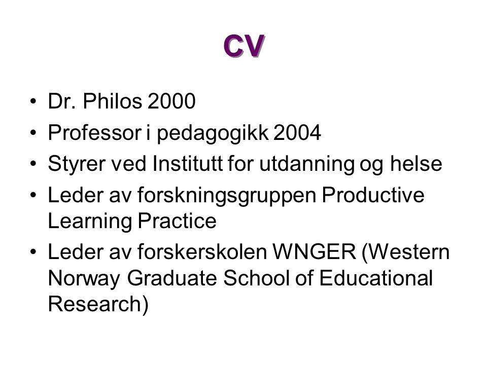CV •Dr. Philos 2000 •Professor i pedagogikk 2004 •Styrer ved Institutt for utdanning og helse •Leder av forskningsgruppen Productive Learning Practice