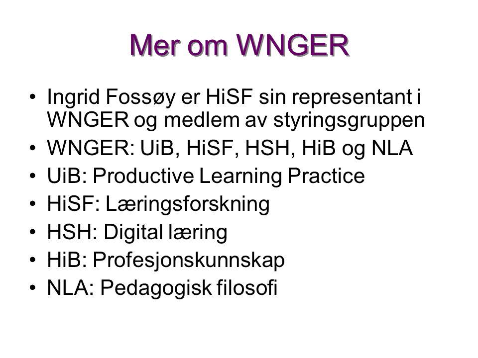 Mer om WNGER •Ingrid Fossøy er HiSF sin representant i WNGER og medlem av styringsgruppen •WNGER: UiB, HiSF, HSH, HiB og NLA •UiB: Productive Learning Practice •HiSF: Læringsforskning •HSH: Digital læring •HiB: Profesjonskunnskap •NLA: Pedagogisk filosofi