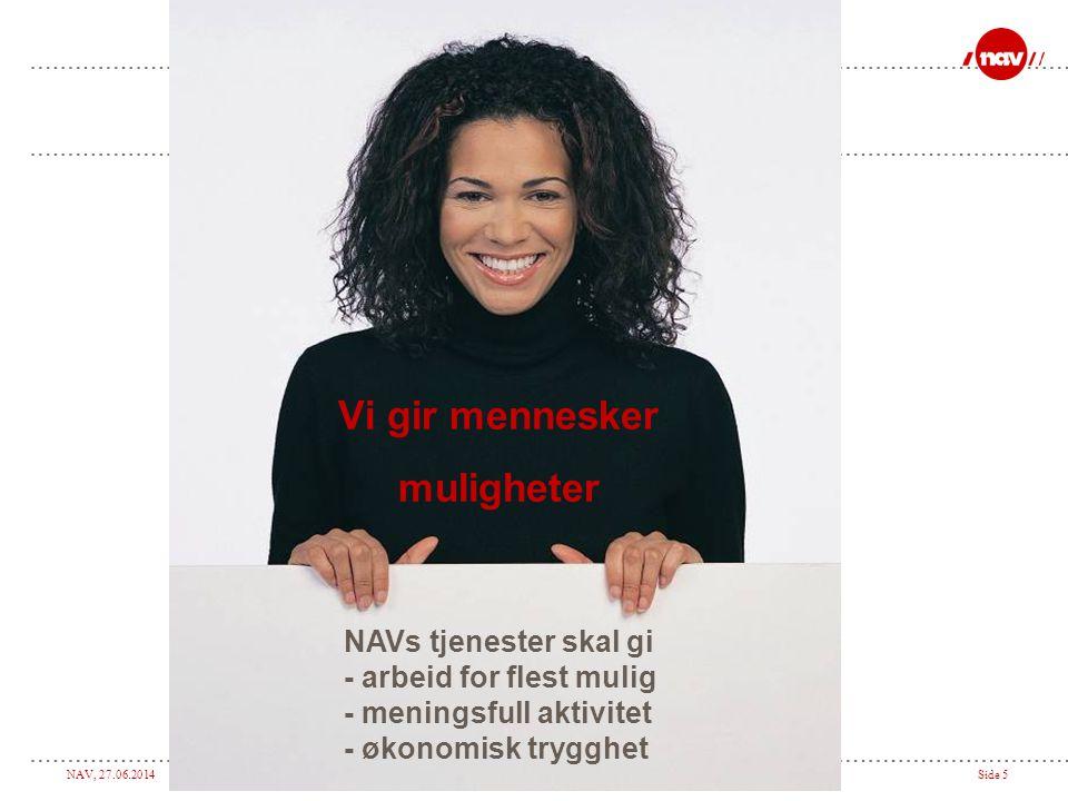 NAV, 27.06.2014Side 5 Vi gir mennesker muligheter NAVs tjenester skal gi - arbeid for flest mulig - meningsfull aktivitet - økonomisk trygghet
