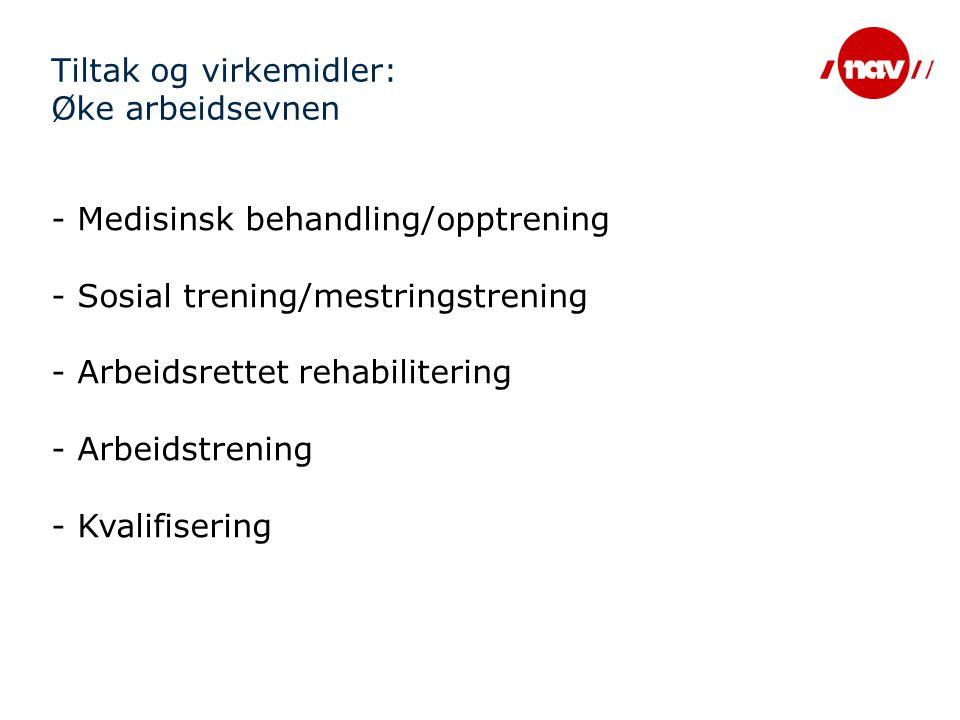 Tiltak og virkemidler: Øke arbeidsevnen - Medisinsk behandling/opptrening - Sosial trening/mestringstrening - Arbeidsrettet rehabilitering - Arbeidstr
