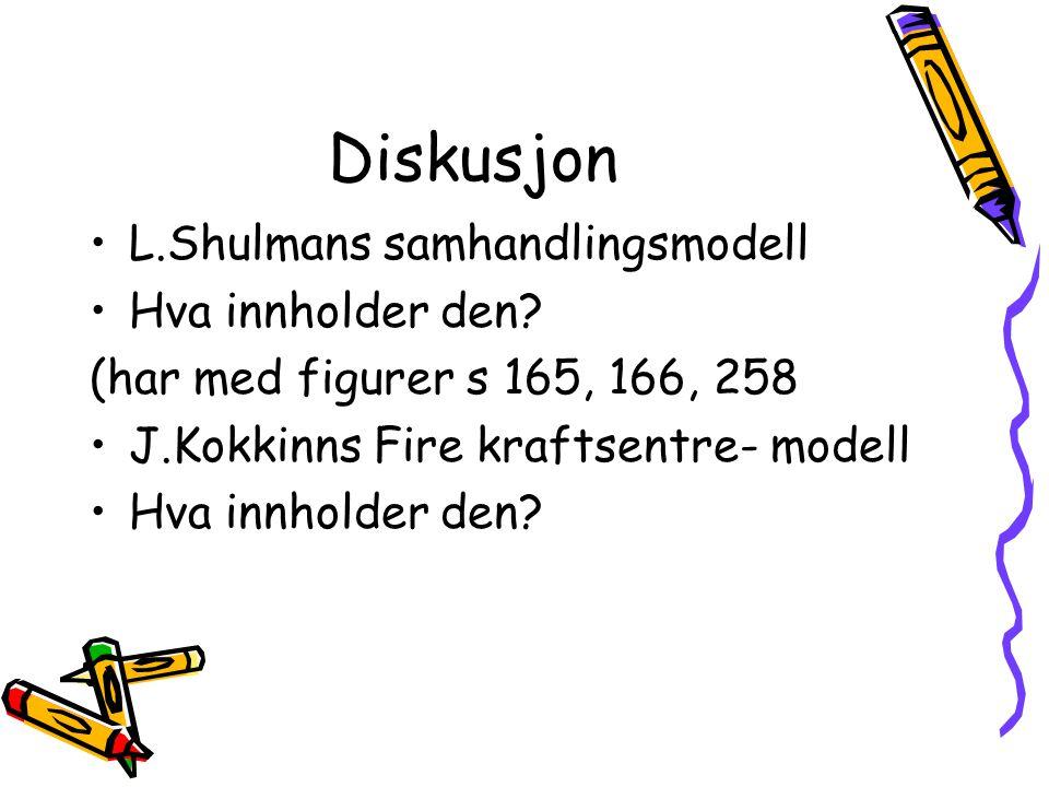 Diskusjon •L.Shulmans samhandlingsmodell •Hva innholder den? (har med figurer s 165, 166, 258 •J.Kokkinns Fire kraftsentre- modell •Hva innholder den?