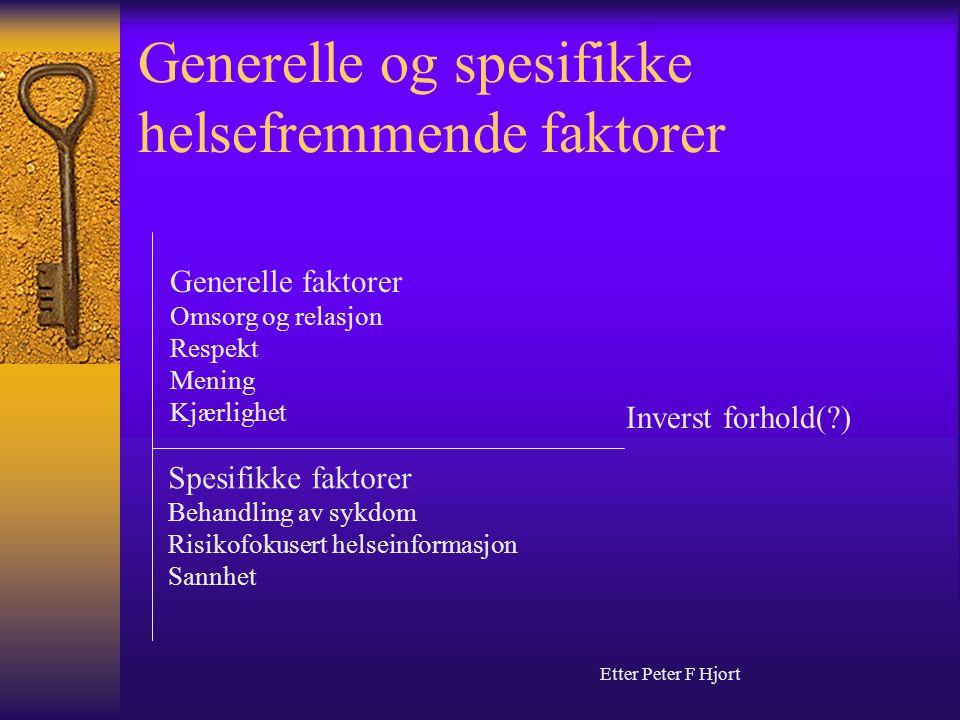 Generelle og spesifikke helsefremmende faktorer Generelle faktorer Omsorg og relasjon Respekt Mening Kjærlighet Spesifikke faktorer Behandling av sykd