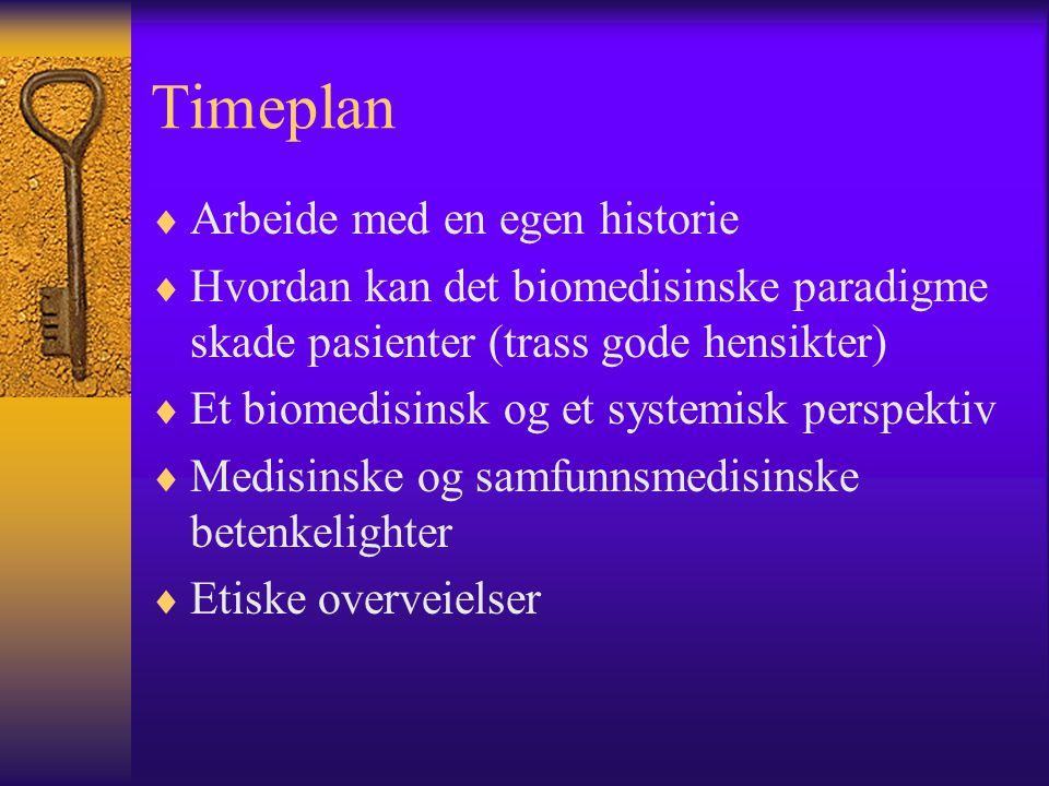Timeplan  Arbeide med en egen historie  Hvordan kan det biomedisinske paradigme skade pasienter (trass gode hensikter)  Et biomedisinsk og et syste