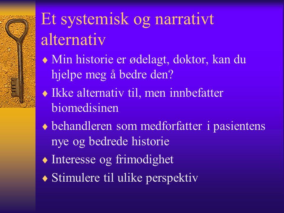 Et systemisk og narrativt alternativ  Min historie er ødelagt, doktor, kan du hjelpe meg å bedre den?  Ikke alternativ til, men innbefatter biomedis