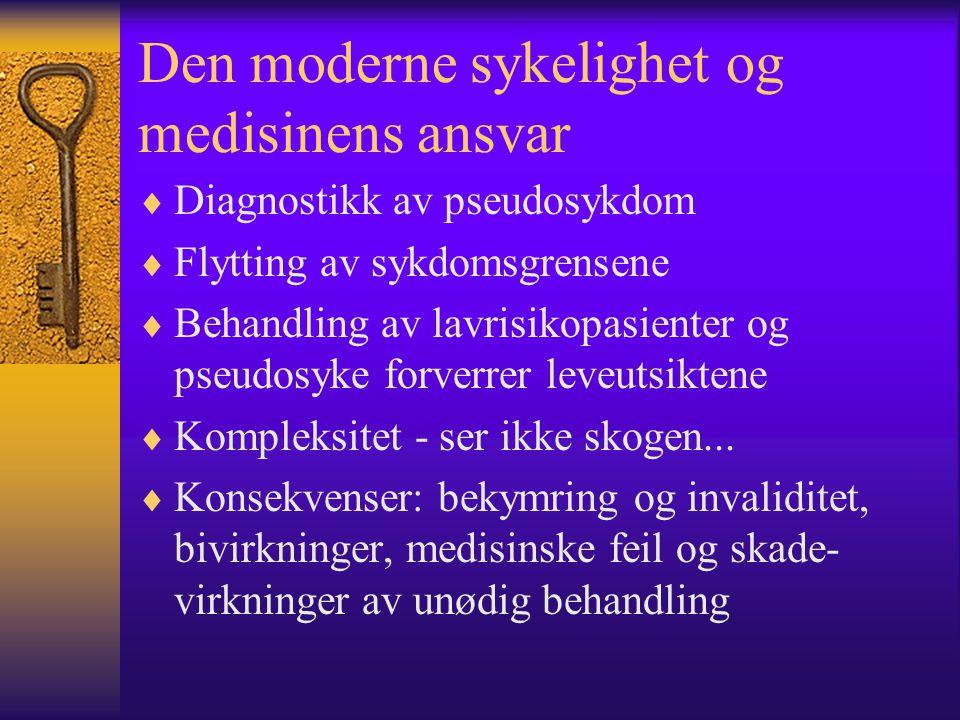 Den moderne sykelighet og medisinens ansvar  Diagnostikk av pseudosykdom  Flytting av sykdomsgrensene  Behandling av lavrisikopasienter og pseudosy