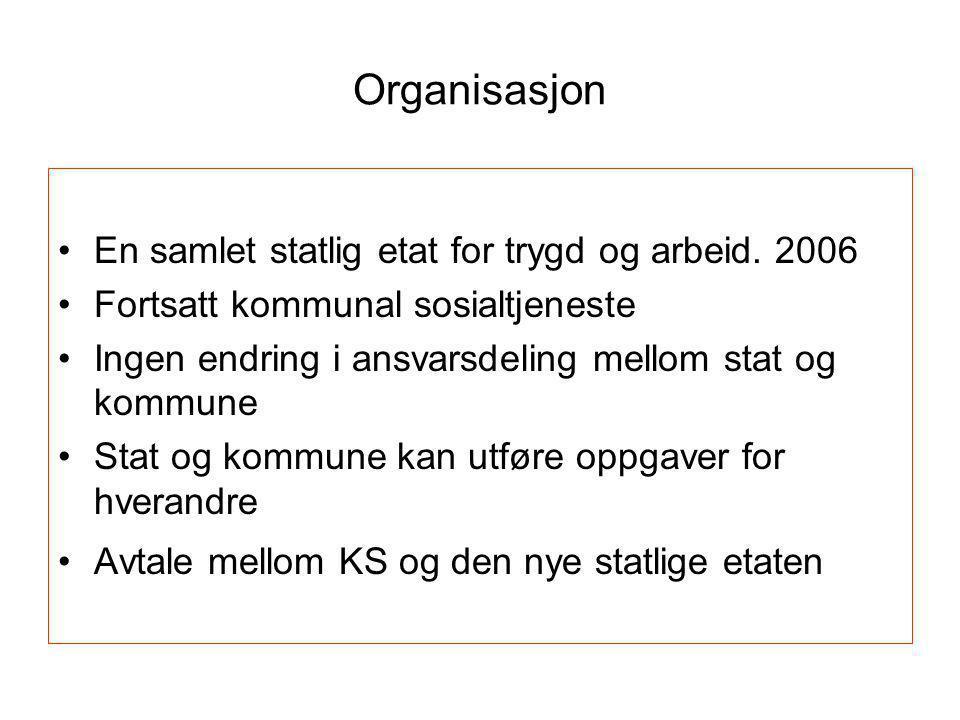 Organisasjon •En samlet statlig etat for trygd og arbeid. 2006 •Fortsatt kommunal sosialtjeneste •Ingen endring i ansvarsdeling mellom stat og kommune