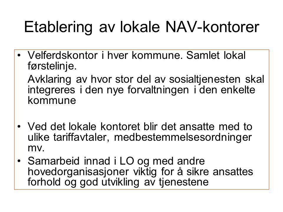 Etablering av lokale NAV-kontorer •Velferdskontor i hver kommune. Samlet lokal førstelinje. Avklaring av hvor stor del av sosialtjenesten skal integre