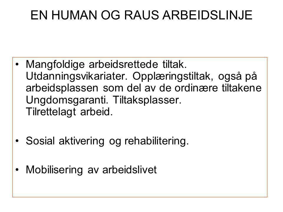 EN HUMAN OG RAUS ARBEIDSLINJE •Mangfoldige arbeidsrettede tiltak.