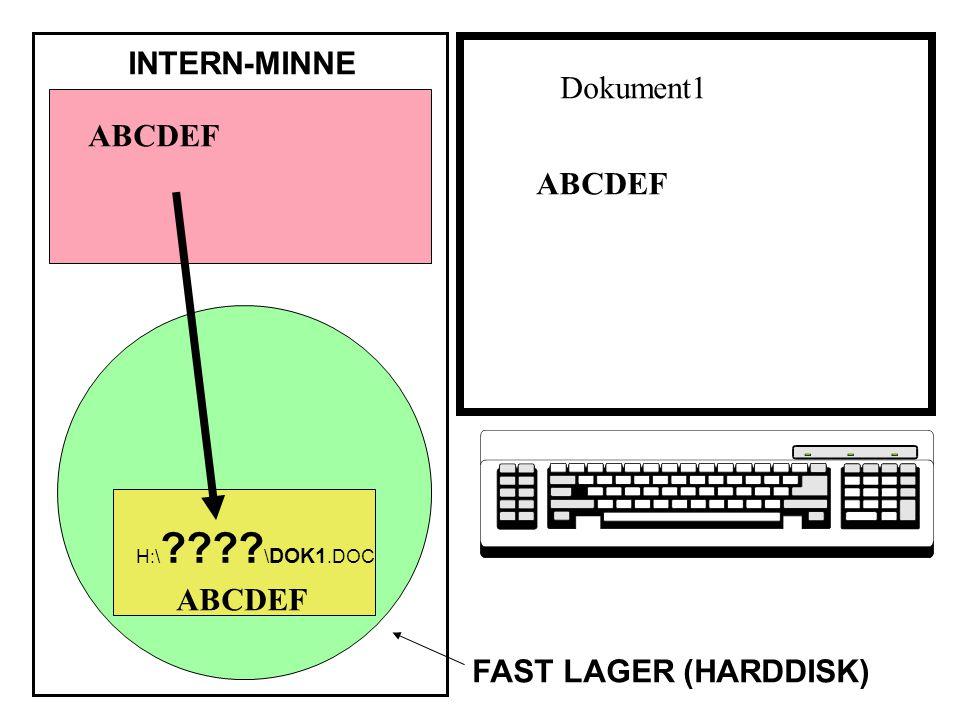 ABCDEF INTERN-MINNE FAST LAGER (HARDDISK) ABCDEF H:\ ???? \ DOK1.DOC Dokument1