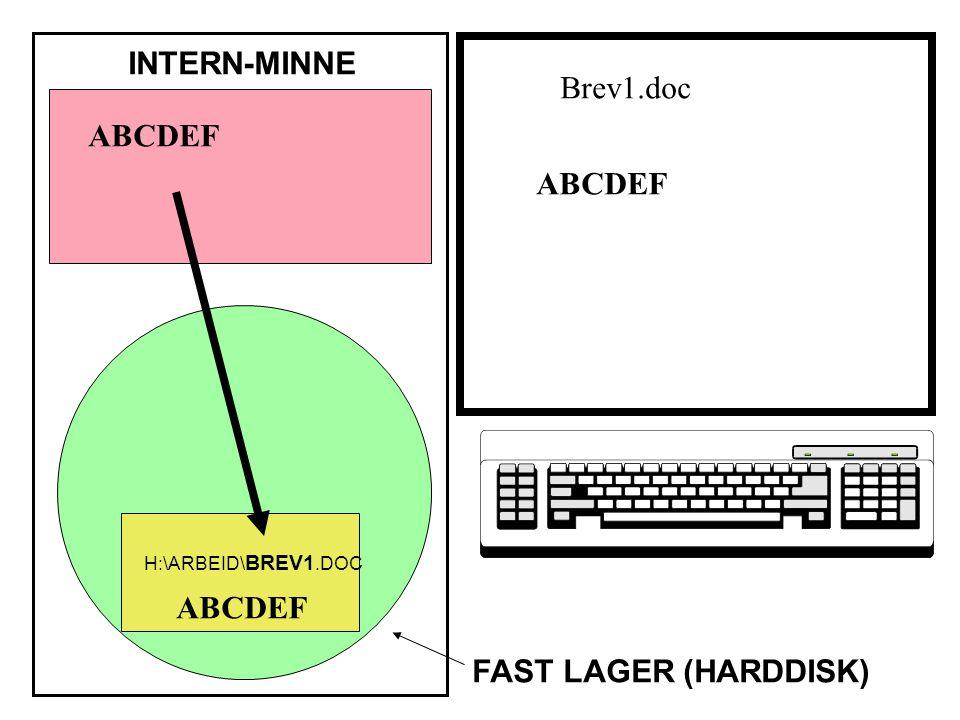 ABCDEF INTERN-MINNE FAST LAGER (HARDDISK) ABCDEF H:\ARBEID\ BREV1.DOC Brev1.doc