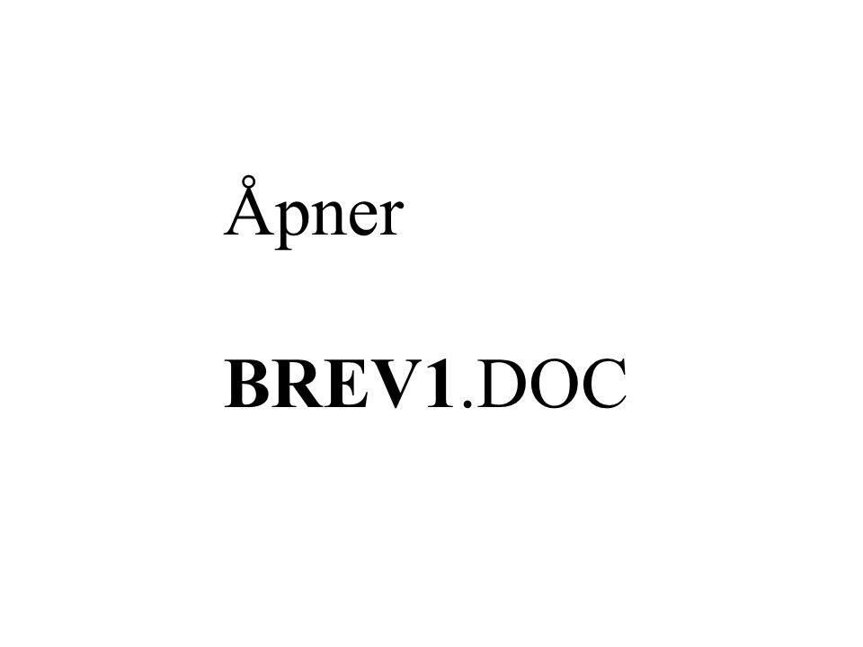Åpner BREV1.DOC