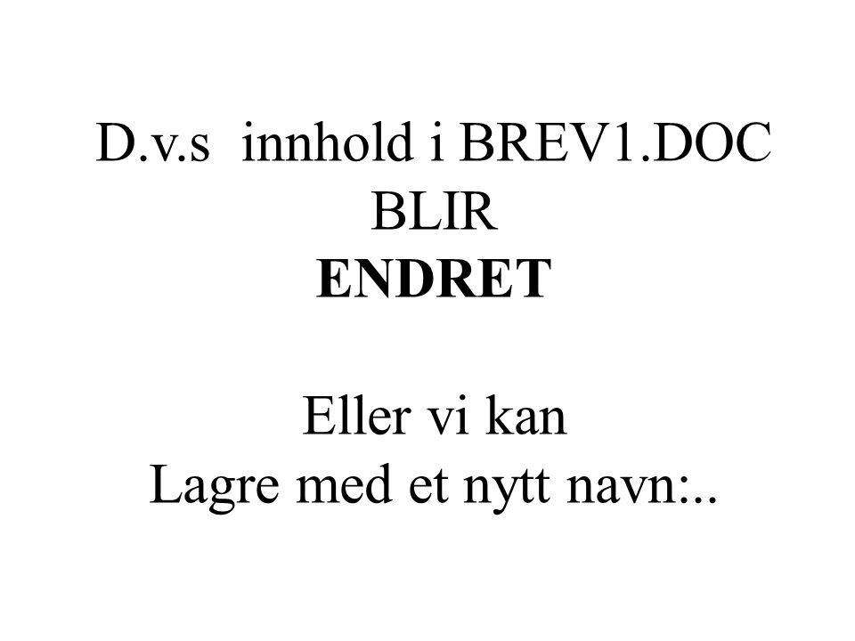 D.v.s innhold i BREV1.DOC BLIR ENDRET Eller vi kan Lagre med et nytt navn:..