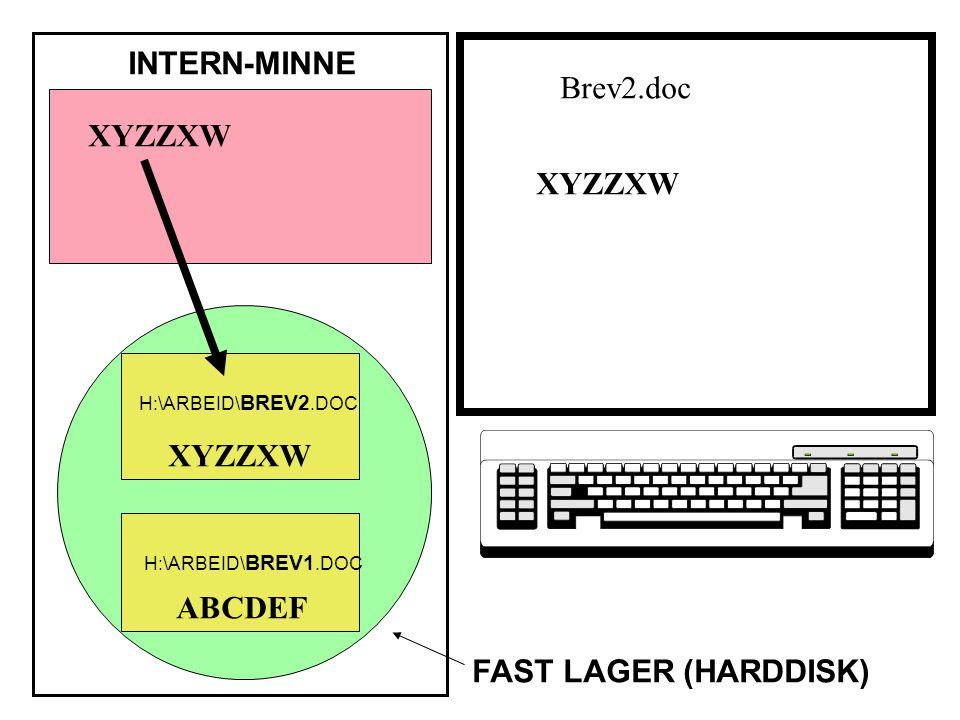 XYZZXW ABCDEF XYZZXW INTERN-MINNE FAST LAGER (HARDDISK) XYZZXW H:\ARBEID\ BREV1.DOC H:\ARBEID\ BREV2.DOC Brev2.doc