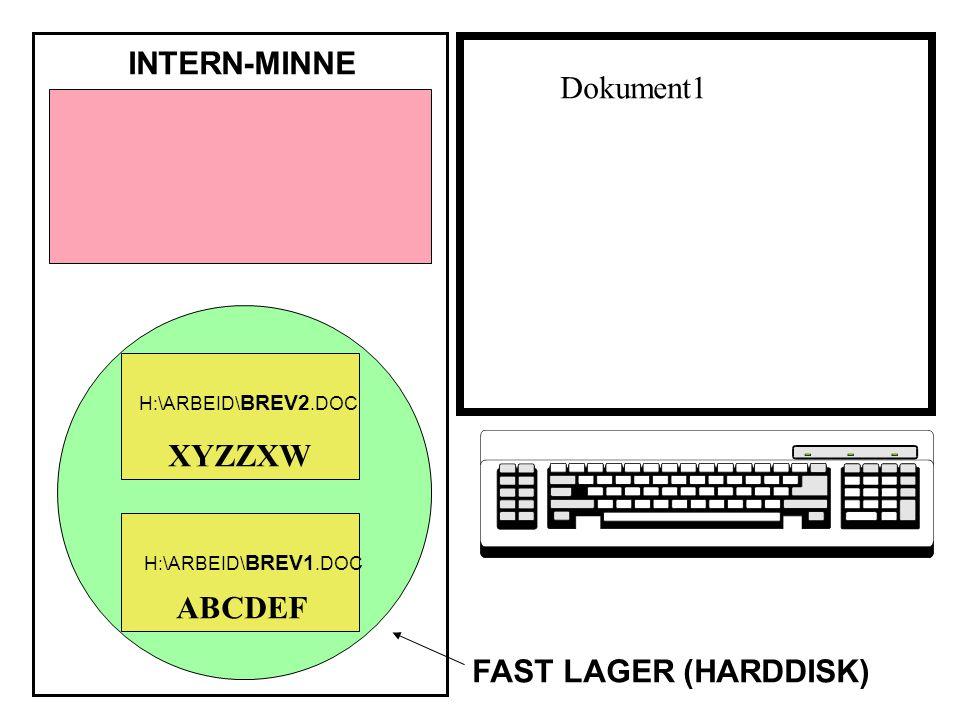 ABCDEF XYZZXW INTERN-MINNE FAST LAGER (HARDDISK) H:\ARBEID\ BREV1.DOC H:\ARBEID\ BREV2.DOC Dokument1