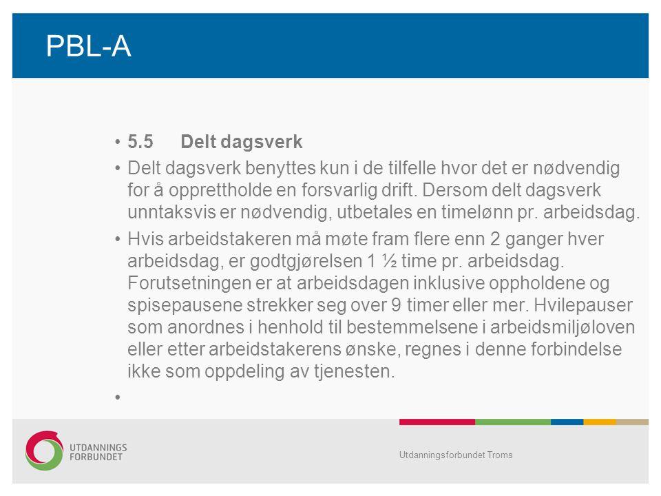 PBL-A •5.5Delt dagsverk •Delt dagsverk benyttes kun i de tilfelle hvor det er nødvendig for å opprettholde en forsvarlig drift.