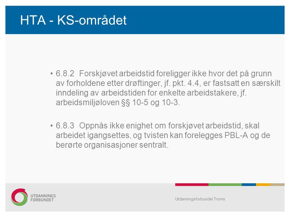 HTA - KS-området •6.8.2Forskjøvet arbeidstid foreligger ikke hvor det på grunn av forholdene etter drøftinger, jf.
