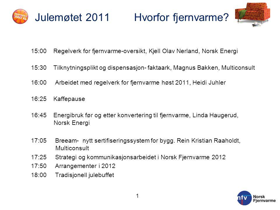 Julemøtet 2011 Hvorfor fjernvarme? 15:00 Regelverk for fjernvarme-oversikt, Kjell Olav Nerland, Norsk Energi 15:30 Tilknytningsplikt og dispensasjon-