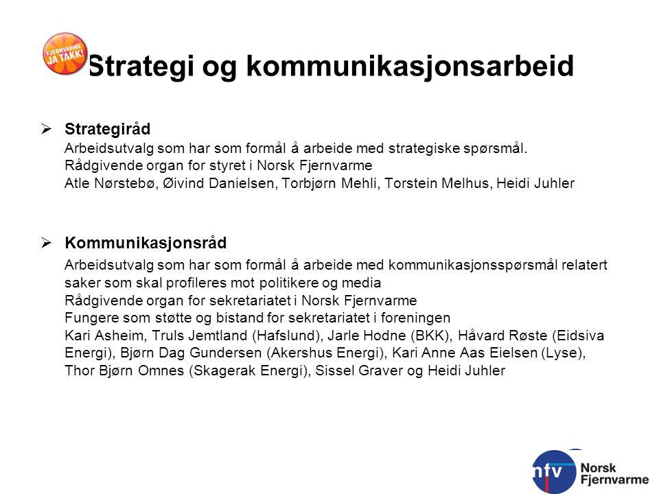 Strategi og kommunikasjonsarbeid  Strategiråd Arbeidsutvalg som har som formål å arbeide med strategiske spørsmål. Rådgivende organ for styret i Nors