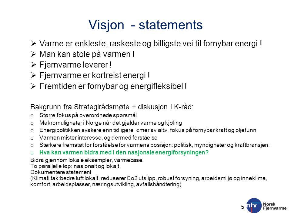 Visjon - statements  Varme er enkleste, raskeste og billigste vei til fornybar energi !  Man kan stole på varmen !  Fjernvarme leverer !  Fjernvar