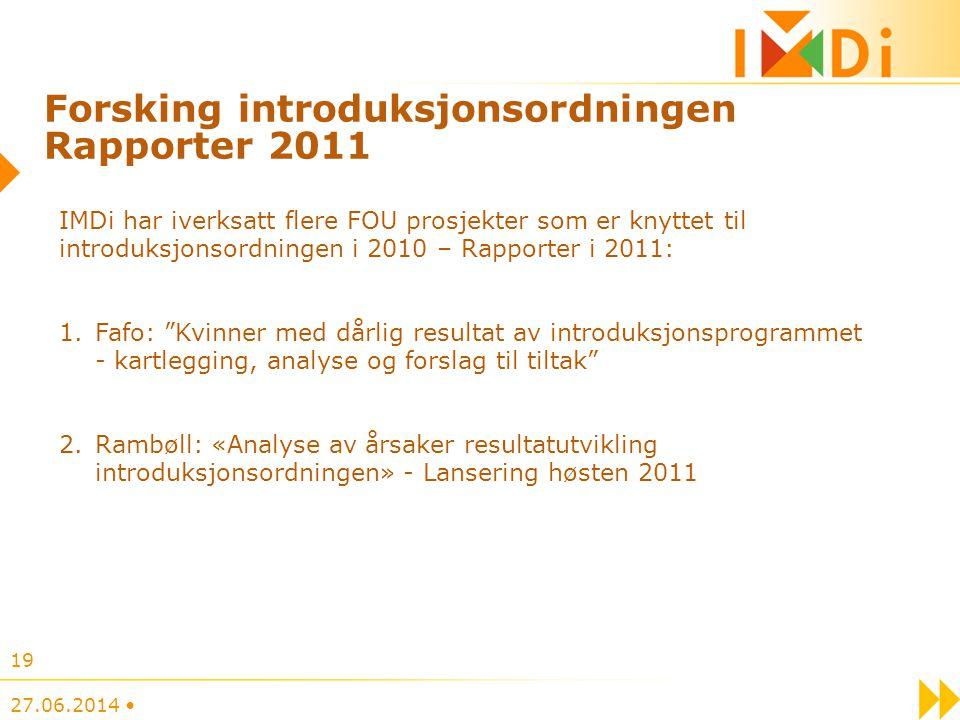 Forsking introduksjonsordningen Rapporter 2011 IMDi har iverksatt flere FOU prosjekter som er knyttet til introduksjonsordningen i 2010 – Rapporter i