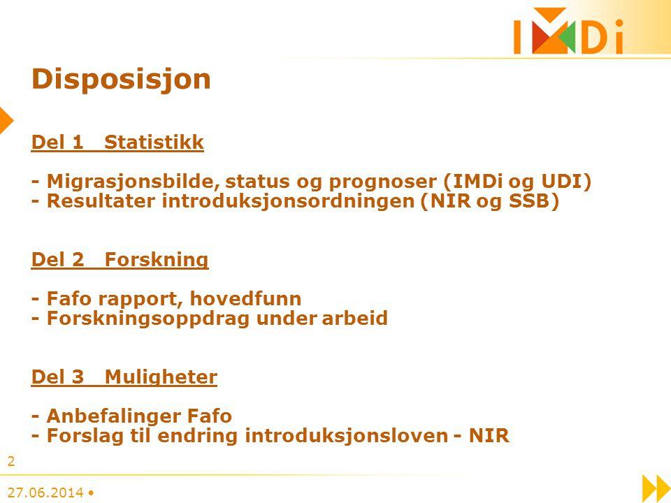 Disposisjon Del 1 Statistikk - Migrasjonsbilde, status og prognoser (IMDi og UDI) - Resultater introduksjonsordningen (NIR og SSB) Del 2 Forskning - F