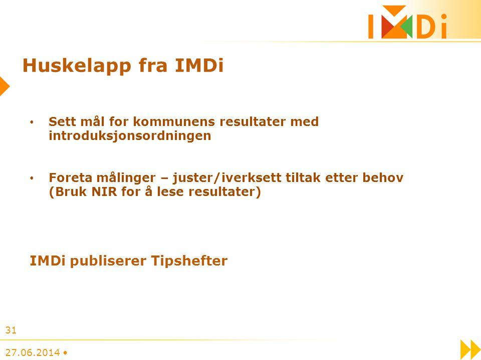 Huskelapp fra IMDi • Sett mål for kommunens resultater med introduksjonsordningen • Foreta målinger – juster/iverksett tiltak etter behov (Bruk NIR fo
