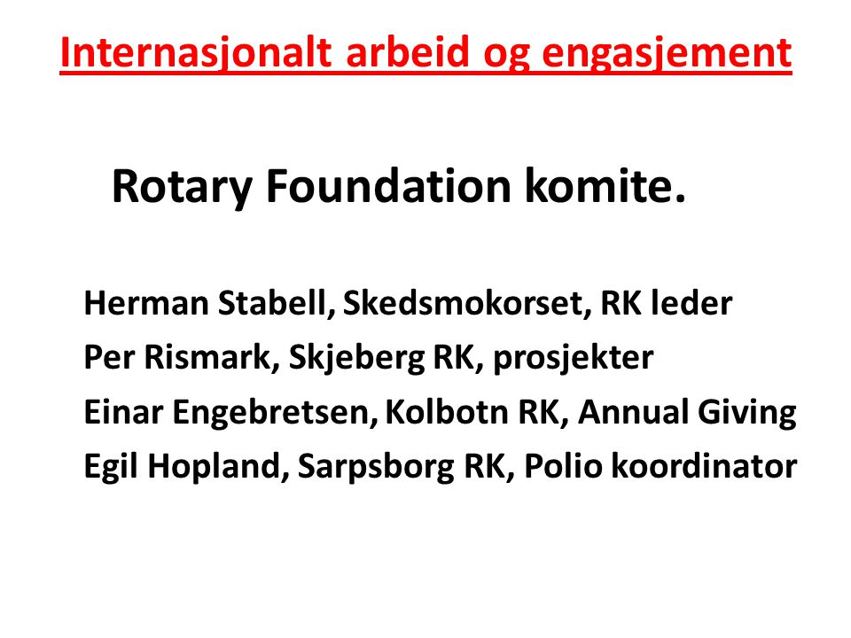 Internasjonalt arbeid og engasjement Grunnleggende prinsipper • Annual Giving.