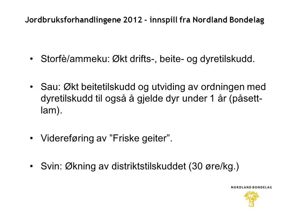 Jordbruksforhandlingene 2012 - innspill fra Nordland Bondelag •Storfè/ammeku: Økt drifts-, beite- og dyretilskudd.