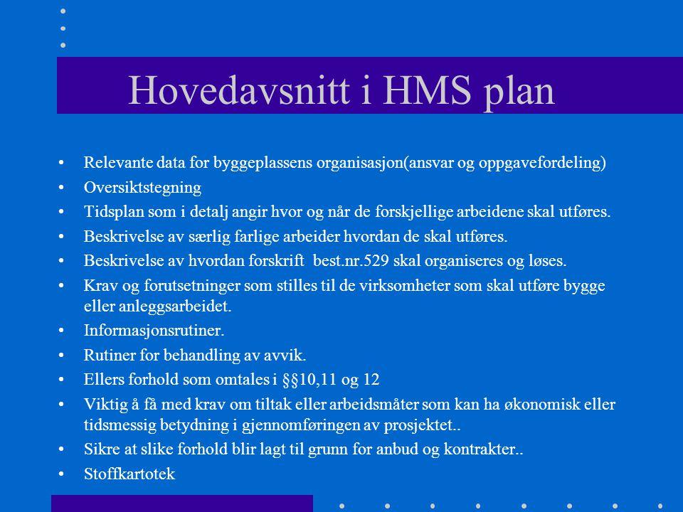 Hovedavsnitt i HMS plan •Relevante data for byggeplassens organisasjon(ansvar og oppgavefordeling) •Oversiktstegning •Tidsplan som i detalj angir hvor