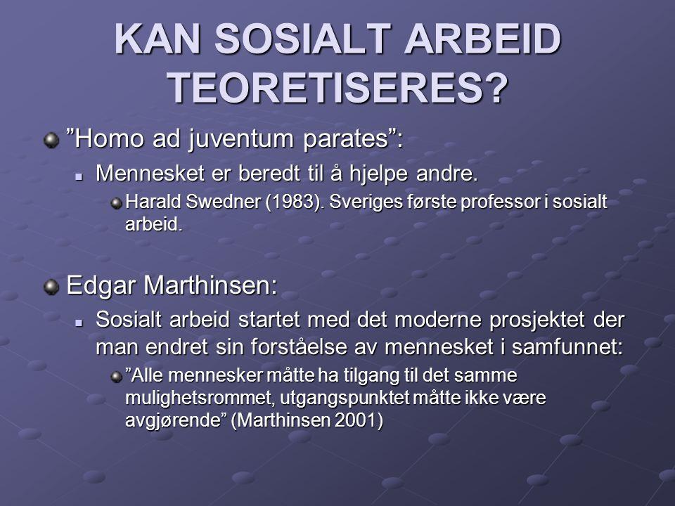 """KAN SOSIALT ARBEID TEORETISERES? """"Homo ad juventum parates"""":  Mennesket er beredt til å hjelpe andre. Harald Swedner (1983). Sveriges første professo"""