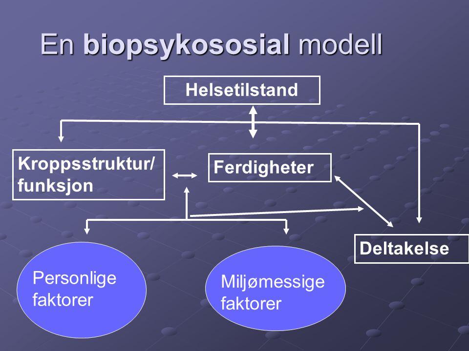 En biopsykososial modell Helsetilstand Kroppsstruktur/ funksjon Personlige faktorer Miljømessige faktorer Deltakelse Ferdigheter