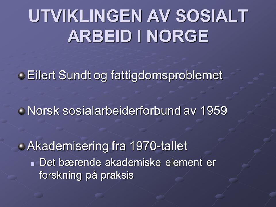 UTVIKLINGEN AV SOSIALT ARBEID I NORGE Eilert Sundt og fattigdomsproblemet Norsk sosialarbeiderforbund av 1959 Akademisering fra 1970-tallet  Det bære