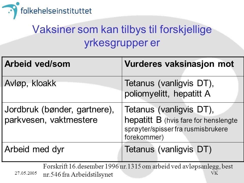27.05.2005VK Vaksiner som kan tilbys til forskjellige yrkesgrupper er Arbeid ved/somVurderes vaksinasjon mot Avløp, kloakkTetanus (vanligvis DT), poliomyelitt, hepatitt A Jordbruk (bønder, gartnere), parkvesen, vaktmestere Tetanus (vanligvis DT), hepatitt B (hvis fare for henslengte sprøyter/spisser fra rusmisbrukere forekommer) Arbeid med dyrTetanus (vanligvis DT) Forskrift 16.desember 1996 nr.1315 om arbeid ved avløpsanlegg, best nr.546 fra Arbeidstilsynet