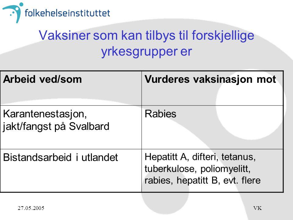 27.05.2005VK Vaksiner som kan tilbys til forskjellige yrkesgrupper er Arbeid ved/somVurderes vaksinasjon mot Karantenestasjon, jakt/fangst på Svalbard