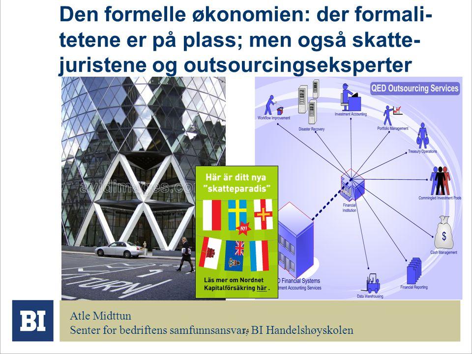 14 Den formelle økonomien: der formali- tetene er på plass; men også skatte- juristene og outsourcingseksperter Atle Midttun Senter for bedriftens sam