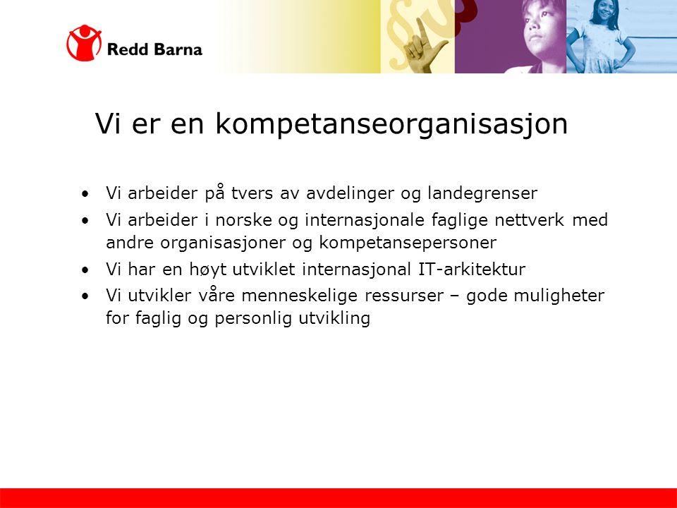Vi er en kompetanseorganisasjon •Vi arbeider på tvers av avdelinger og landegrenser •Vi arbeider i norske og internasjonale faglige nettverk med andre organisasjoner og kompetansepersoner •Vi har en høyt utviklet internasjonal IT-arkitektur •Vi utvikler våre menneskelige ressurser – gode muligheter for faglig og personlig utvikling