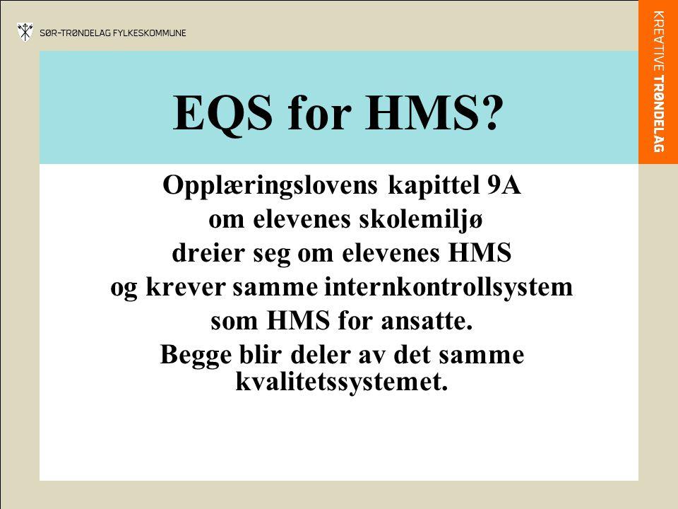 EQS for HMS? Opplæringslovens kapittel 9A om elevenes skolemiljø dreier seg om elevenes HMS og krever samme internkontrollsystem som HMS for ansatte.