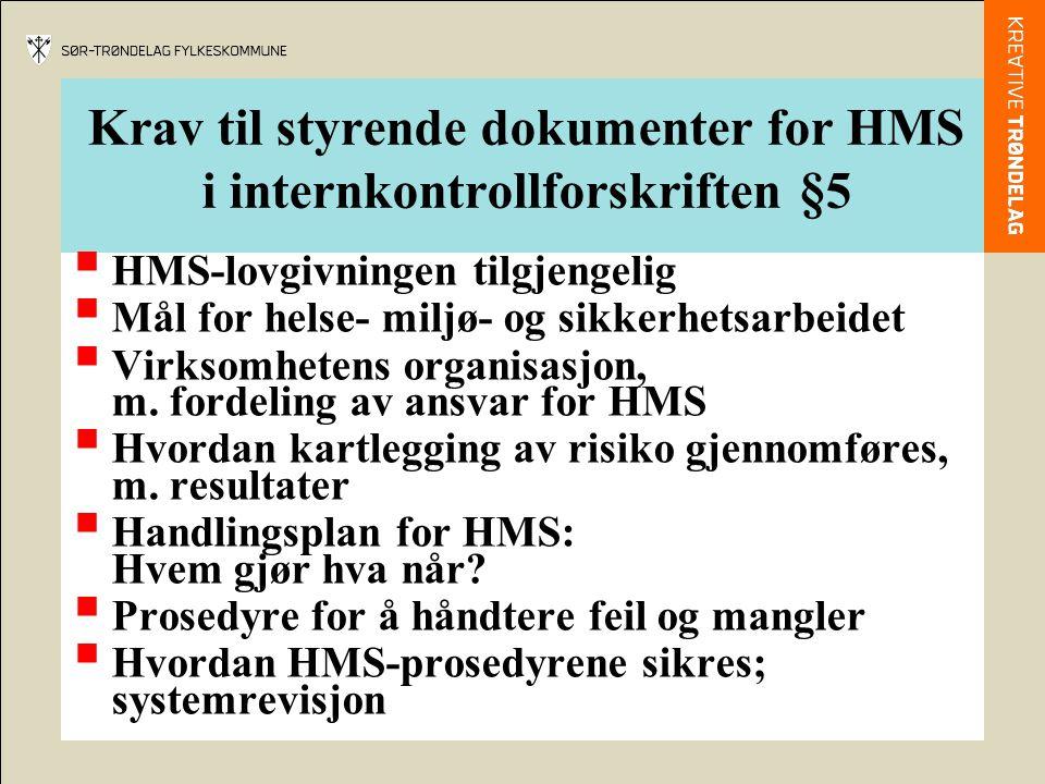 Krav til styrende dokumenter for HMS i internkontrollforskriften §5  HMS-lovgivningen tilgjengelig  Mål for helse- miljø- og sikkerhetsarbeidet  Vi