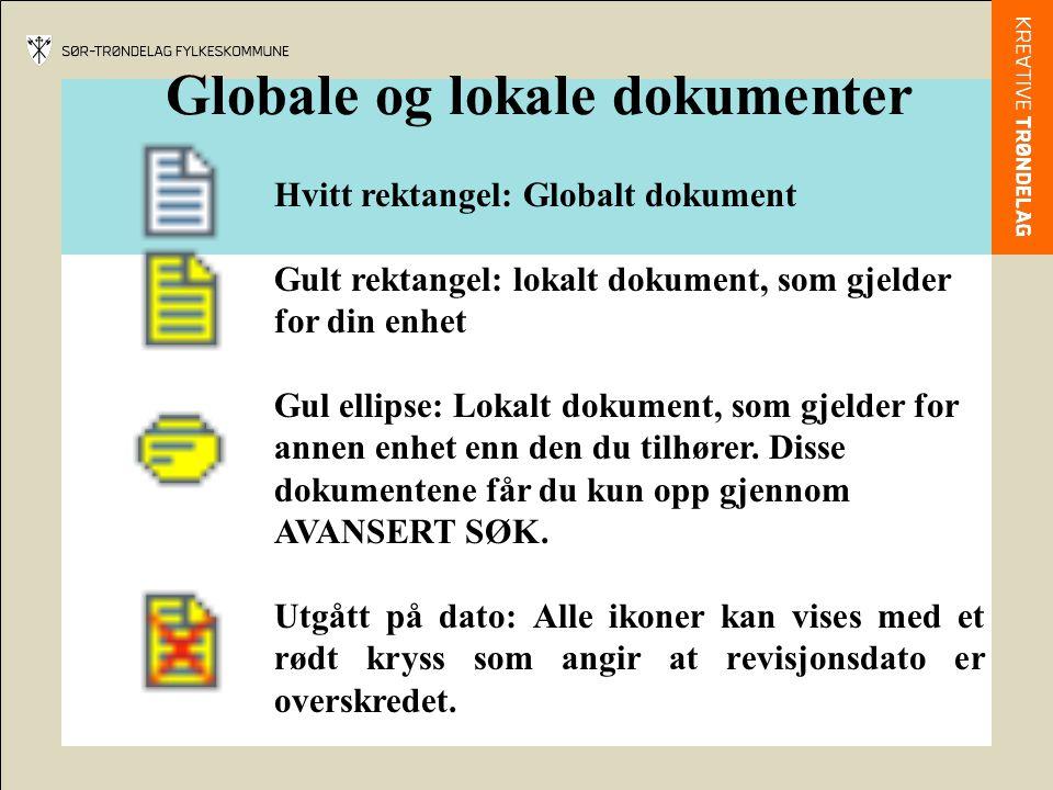 Globale og lokale dokumenter Hvitt rektangel: Globalt dokument Gult rektangel: lokalt dokument, som gjelder for din enhet Gul ellipse: Lokalt dokument