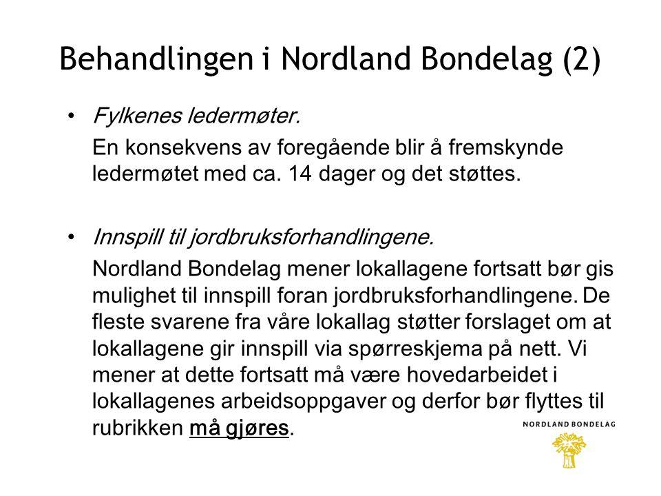 Behandlingen i Nordland Bondelag (2) •Fylkenes ledermøter.